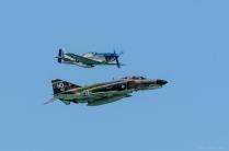 Vintage flight. P-51 Mustang and F-4 Phantom.